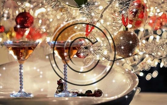 christmas celebration with wine